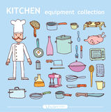 Kitchen and cooking elements, vector illustration Stock Photo