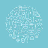 Kitchen and Cooking Foods background outline icons Kitchen. Food. Set of abstract vector illustration