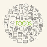 Kitchen and Cooking Foods background outline icons set Royalty Free Stock Photo
