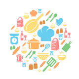 Kitchen and cooking icons background Royalty Free Stock Photography
