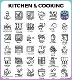 Kitchen and cooking icons. Kitchen and cooking concept detailed line icons set in modern line icon style concept for ui, ux, web, app design Royalty Free Stock Photo