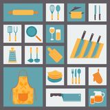 Kitchen and cooking icons set, kitchenware and Stock Images