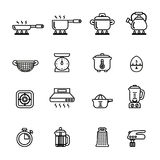 Kitchen and Cooking Icons Set. Line Style stock . Royalty Free Stock Photos