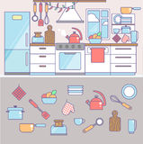 Kitchen and cooking infographic elements including icons.  Royalty Free Stock Photography