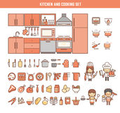 Kitchen and cooking infographic elements for kid. Including characters and icons Royalty Free Stock Photos