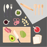 Kitchen cooking, kitchen table. Kitchen cooking vector for your ideas Stock Photo