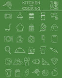 Kitchen and Cooking outline icons set. Morning Stock Images