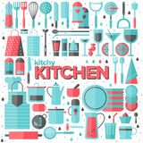 Kitchen and cooking utensils flat illustration. Flat icons set of kitchen utensils and collection of cookware, cooking tools and kitchenware equipment, serve Stock Photography