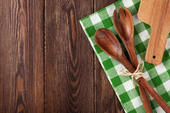 Kitchen cooking utensils over wooden table Stock Photography
