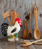 Kitchen cooking utensils: wooden spatulas, soons etc Royalty Free Stock Images