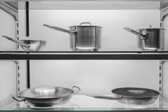 Kitchen cookware in shop window Royalty Free Stock Photo