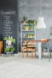 Kitchen corner with fresh herbs. Trendy modern kitchen corner with fresh herbs and plants Stock Photo