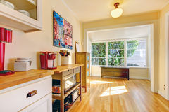 Kitchen corner with large window and bench. Stock Photos