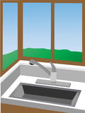 Kitchen corner at sink surrounded by win. Angled 3D style view of kitchen corner by sink next to windows with lawn outside Royalty Free Stock Photography