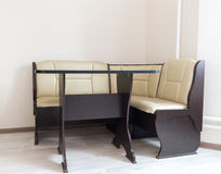 Kitchen corner sofa and table in interior Royalty Free Stock Images