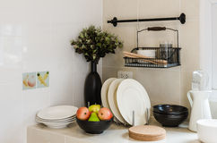 Kitchen corner with utensil on counter Royalty Free Stock Photo