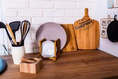 Kitchen corner with various cooking utensils stock photo