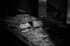 Kitchen Counter in Abandoned Building Stock Photos