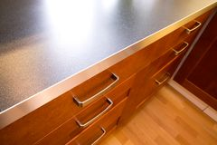 Kitchen Counter and Drawer. A detail close up image of a stylish kitchen counter and drawer royalty free stock image
