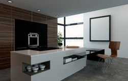 Kitchen counter, oven and chair in fancy kitchen Royalty Free Stock Photography