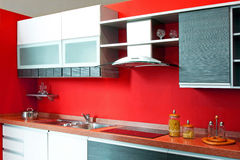Kitchen counter red Stock Photos
