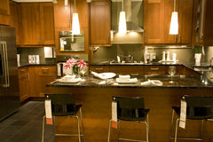 Kitchen counter setting home interiors Royalty Free Stock Photo