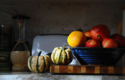 Kitchen Counter Still Life. Kitchen counter with squash, fruit and veggie bowl, looks like an old masters painting Royalty Free Stock Image
