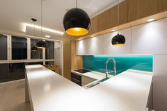 Kitchen countertop. In modern apartment royalty free stock photo