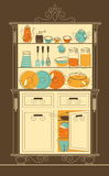Kitchen cupboard. Vector illustration - Kitchen cupboard in old-fashion style Royalty Free Stock Photo