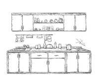 Kitchen cupboard, kitchen shelves, hand drawn Royalty Free Stock Image