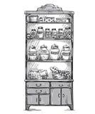 Kitchen cupboard, kitchen shelves, hand drawn Stock Photo