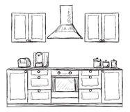 Kitchen cupboard,  shelves, hand drawn Stock Image