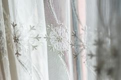Kitchen Curtain Details In Home Environment Stock Photography