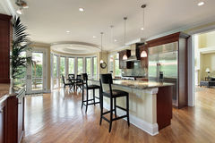 Kitchen with curved eating area Royalty Free Stock Image