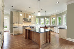Kitchen with curved walls stock image