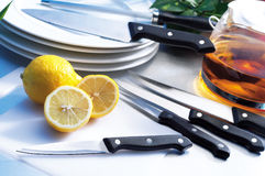 Kitchen cutlery. On table top setting royalty free stock image