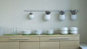 Kitchen and cutlery stock video footage
