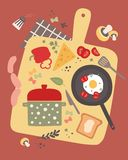 Cooking vector illustration with fresh food. Royalty Free Stock Images