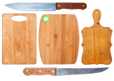 Kitchen cutting boards and knives Stock Photography