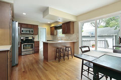 Kitchen with deck view stock photography
