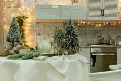 Kitchen decorated for the new year royalty free stock photo