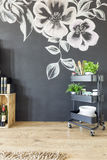Kitchen with decorated wall stock images