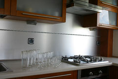Kitchen design. Brown and silver kitchen. Glass. Premium Royalty Free Stock Photo