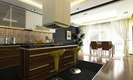 Kitchen design. Modern kitchen design with render Royalty Free Stock Photo