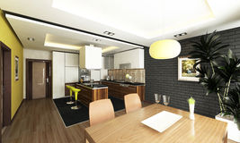 Kitchen design. Modern kitchen design with render Royalty Free Stock Photography