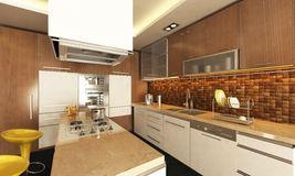 Kitchen design. Modern kitchen design with render Royalty Free Stock Photos