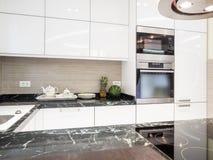 Kitchen design. White kitchen design and decoration Royalty Free Stock Photos