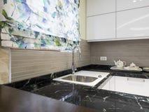 Kitchen design. White kitchen design and decoration Stock Photography