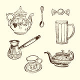 Kitchen devices. Coffee teapot cup spoon sweet Stock Photography