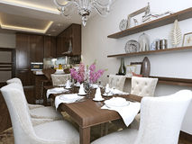 Kitchen diner in the neoclassical style. 3d images Stock Photography